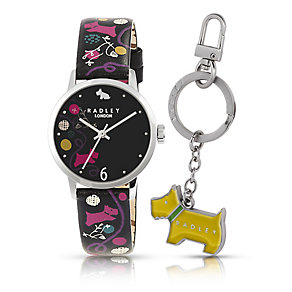 Radley Ladies' Black & Colour Print Watch & Key Ring Set - Product number 2263068