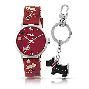 Radley Ladies' Red Spotty Print Watch & Key Ring Set - Product number 2263076