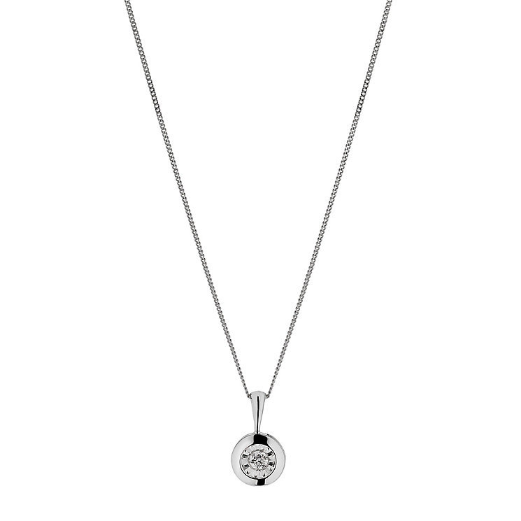 9ct white gold diamond solitaire pendant - Product number 2263289