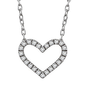 9ct white gold diamond heart pendant - Product number 2263394
