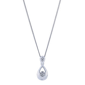 9ct white gold and diamond tear drop pendant - Product number 2263475