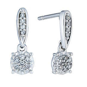 9ct white gold 12 point diamond illusion set drop earrings - Product number 2263491