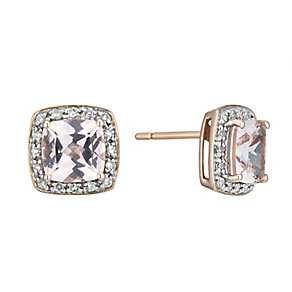 9ct rose gold diamond & morganite stud earrings - Product number 2263572