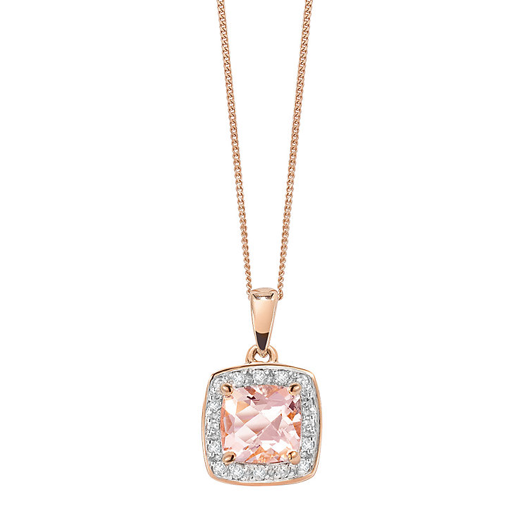 9ct rose gold diamond & morganite pendant. - Product number 2263580