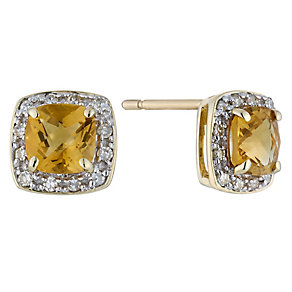 9ct yellow gold 12 point diamond & citrine earrings - Product number 2263610