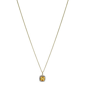 9ct yellow gold diamond and citrine pendant - Product number 2263629