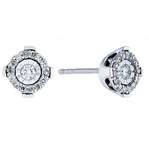 9ct white gold 15 point diamond illusion set stud earrings - Product number 2263645