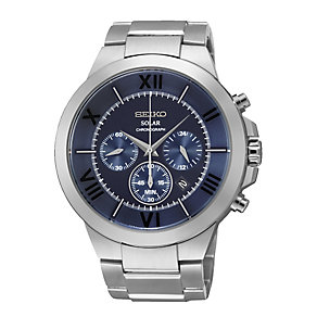 Seiko Men's Stainless Steel Blue Dial Chronograph Watch - Product number 2263661
