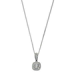 18ct white gold 0.50ct diamond cushion pendant - Product number 2263785