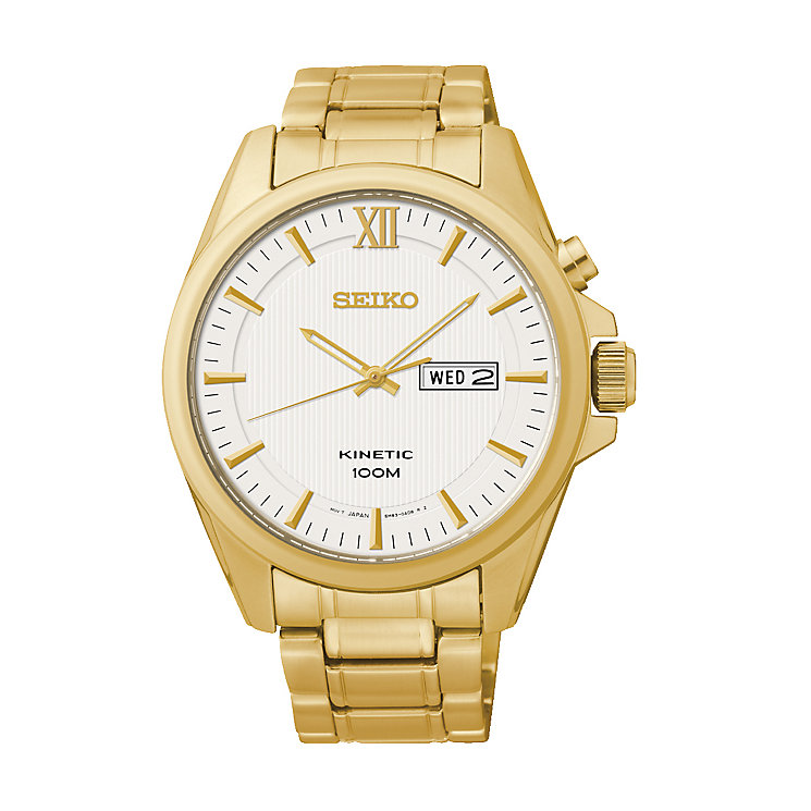 Seiko Men's Kinetic Yellow Gold Plated Bracelet Watch - Product number 2263807