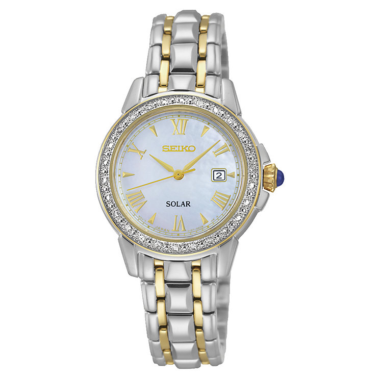 Seiko Ladies' Mother of Pearl Two Tone Diamond Set Watch - Product number 2263955