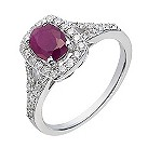 18ct white gold 40 point diamond & ruby ring - Product number 2263963