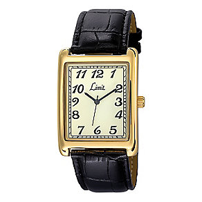Limit Men's Rectangular Case & Black Strap Watch - Product number 2264277