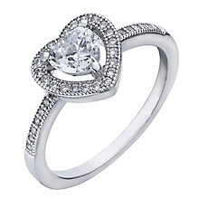 Sterling silver cubic zirconia pave milgrain heart halo ring - Product number 2264307