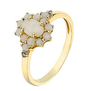 9ct yellow gold diamond and opal ring - Product number 2264447