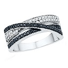 Vivid silver 1/3 carat white & treated black diamond ring - Product number 2264722