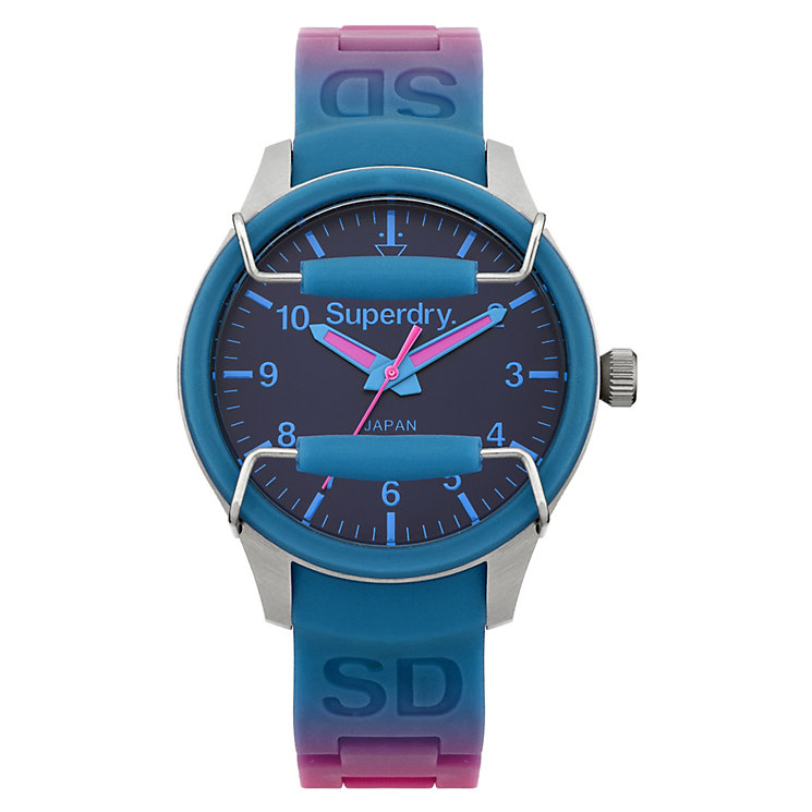 Superdry Ladies' Scuba Spectrum Pink & Blue Silicone Watch - Product number 2265052