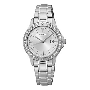 Seiko Ladies' Stainless Steel Mother of Pearl Crystal Watch - Product number 2265060