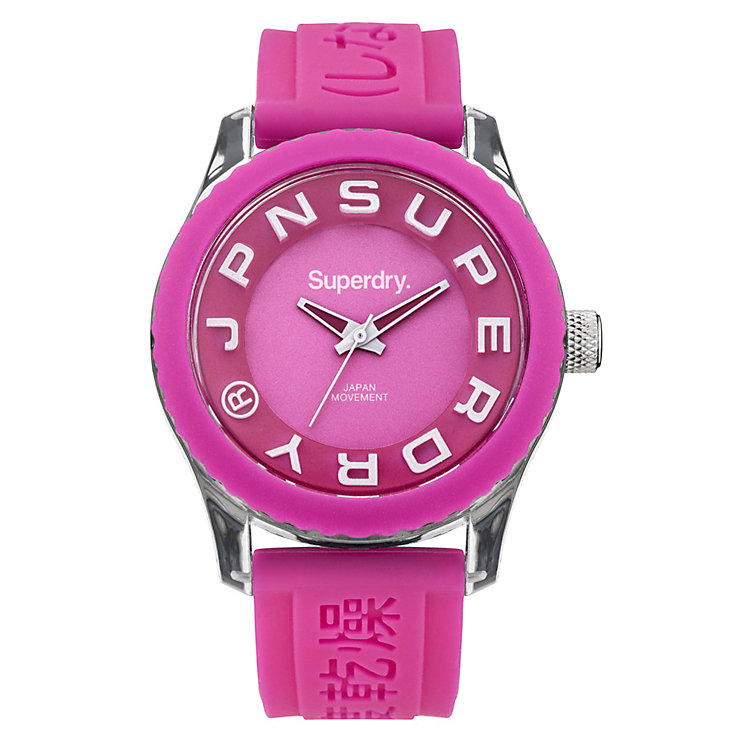 Superdry Ladies' Tokyo White & Pink Silicone Strap Watch - Product number 2265095