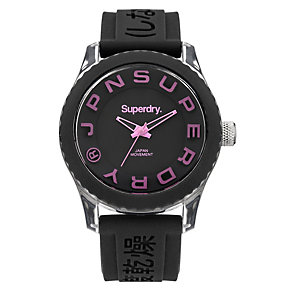 Superdry Ladies' Tokyo Pink & Black Silicone Strap Watch - Product number 2265109