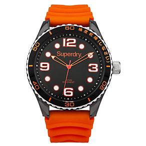 Superdry Ladies' Tokyo Orange & Black Silicone Strap Watch - Product number 2265176