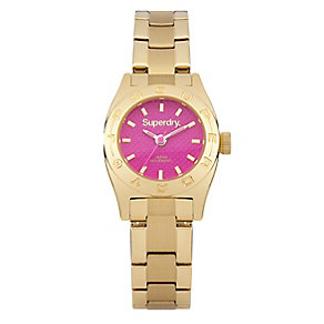 Superdry Ladies' Yellow Gold Tone Hot Pink Dial Watch - Product number 2265230