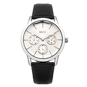 Oasis Ladies' Rose Gold Tone & Black Leather Strap Watch - Product number 2265311