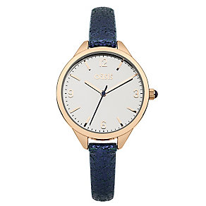 Oasis Ladies' Rose Gold Tone & Blue Glitter Strap Watch - Product number 2265346