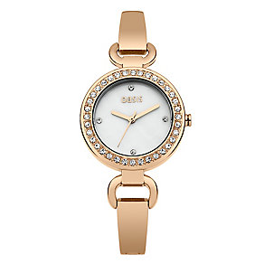 Oasis Ladies' Rose Gold Tone Crystal Set Bracelet Watch - Product number 2265532