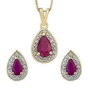 9ct yellow gold diamond and ruby earrings & pendant set - Product number 2265591