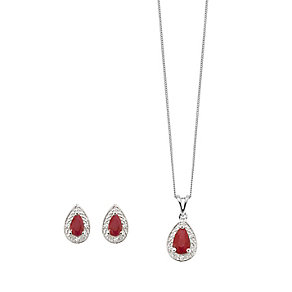9ct white gold diamond & ruby earring & pendant set - Product number 2265648