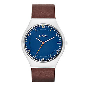 Skagen Men's Blue Dial Brown Leather Strap Watch - Product number 2266318