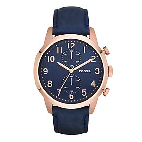 Fossil Men's Townsman Rose Gold Tone Navy Strap Watch - Product number 2266474