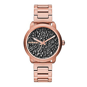 Diesel Ladies' Flare Rose Gold Tone Black Stone Dial Watch - Product number 2266768
