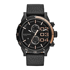 Diesel Men's Double Down 2.0 Black Leather Strap Watch - Product number 2266776