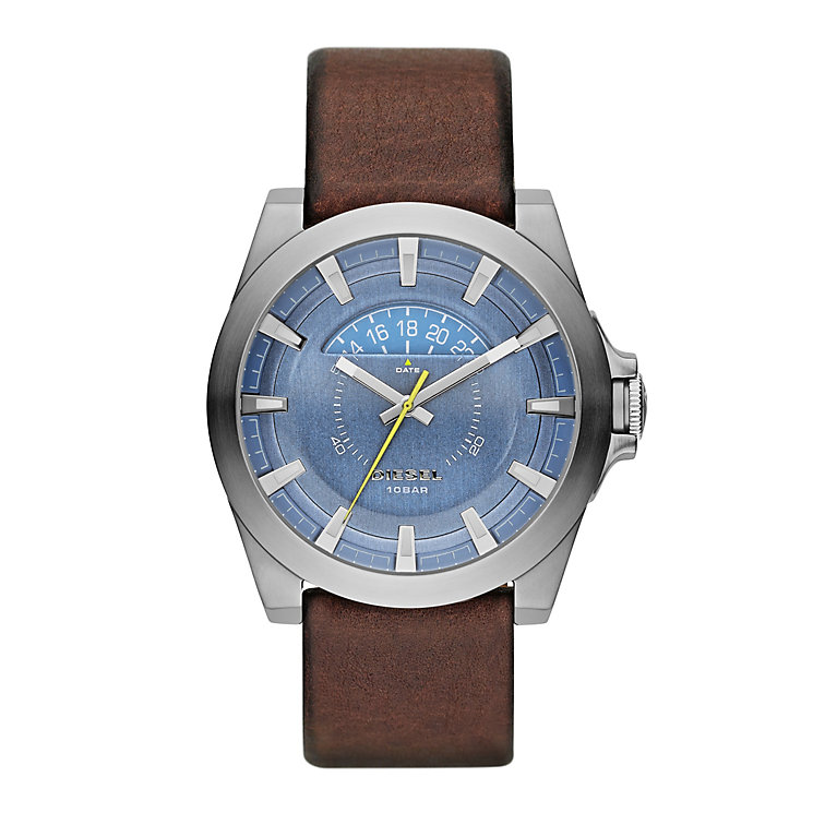 Diesel Mens Arges Blue Dial Brown Leather Strap Watch - Product number 2266784
