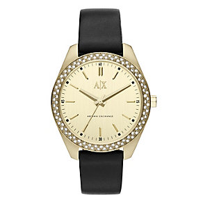 Armani Exchange Ladies Crystal Set Gold Tone Watch - Product number 2266849
