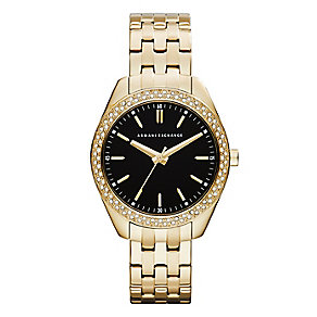 Armani Exchange Ladies' Yellow Gold Plated Crystal Set Watch - Product number 2266857