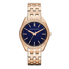 Armani Exchange Ladies' Rose Gold Plated Crystal Set Watch - Product number 2266865