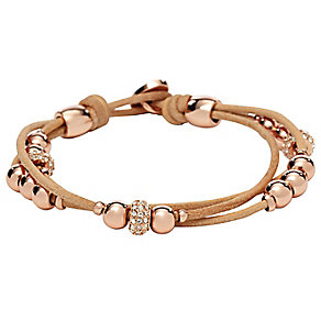 Fossil Rose Gold Tone Crystal Bead & Leather Wrap Bracelet - Product number 2267454