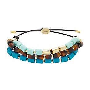 Fossil brown, teal & mint cord bracelet - Product number 2267640