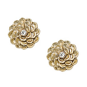 Fossil gold tone stone set flower shaped stud earrings - Product number 2267675