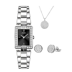 Rotary Ladies' Stainless Steel Watch, Earring & Pendant Set - Product number 2267861