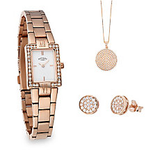 Rotary Ladies' Rose Gold Plated Watch, Earring & Pendant Set - Product number 2267888