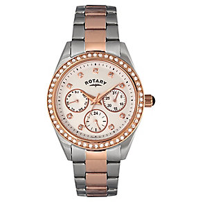 Rotary Ladies' Two Tone Crystal Set Bracelet Watch - Product number 2267896