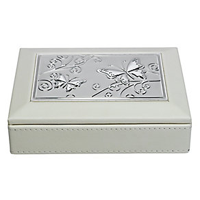 Cream & Aluminium Butterfly Design Jewellery Box - Product number 2268442