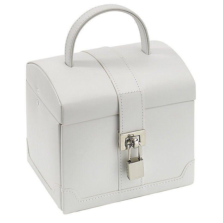 White Small Rounded Suitcase Jewellery Box - Product number 2268795