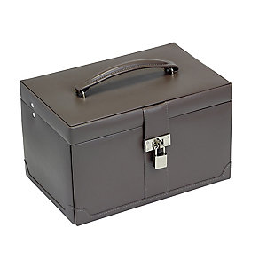 Large Mink Brown Jewellery Box With Removable Drawer - Product number 2268825
