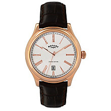 Rotary Men's Rose Gold Plated Leather Strap Watch - Product number 2272180