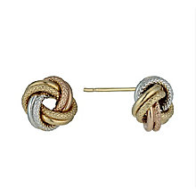 9ct yellow, white and rose gold knot stud earrings - Product number 2272628